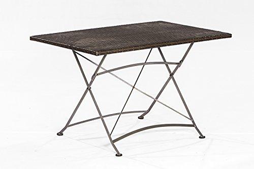 Klapptisch 80x120cm, Gestell Flachstahl, Tischplatte Polyrattan Geflecht mocca