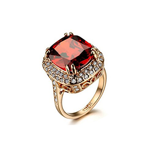 PSRINGS Red Crystal Ring Champagne Gold Plated Made with Genuine Austrian Crystals - Of Stone Review Made Film