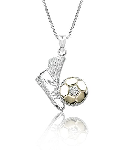 Honolulu Jewelry Company Sterling Silver and 14k Yellow Gold Soccer Shoe and Ball Necklace Pendant with 18
