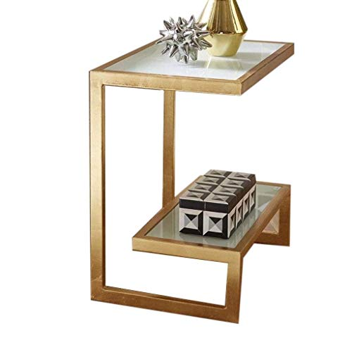 XBBZ Gold Wrought Iron Glass End Table, Creative Minimalist Coffee Table, Sofa Glass Side Table, Living Room Bedroom Square Table(Size : 50 × 35 × 55cm) (Iron Tables Nesting Square)