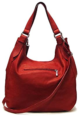 Siena Leather Hobo Shoulder Bag in Red: Handbags: Amazon.com