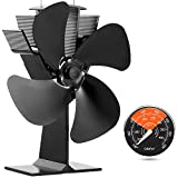 GALAFIRE [ 2 Years ] Eco Heat Powered Wood Stove Fan for Gas/Pellet/Log/Wood Buring Stoves, Fireplace Fan 4 Blade Black + Stove Thermometer