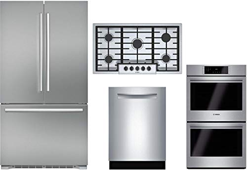 "Bosch 4 Piece Kitchen Package with B21CT80SNS 36"" Fridge, NGM5656UC 36"" Gas Cooktop, HBL8651UC 30"" Electric Double Wall Oven and SHP878WD5N 24"" Built In Fully Integrated D/W in Stainless Steel"