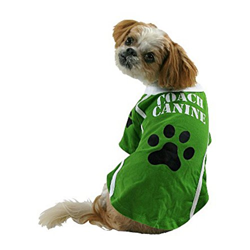 Coach Canine Dog Costume Green Football Pet Tee Halloween T-Shirt X-Large ()