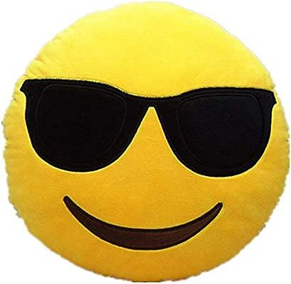 DIVISTAR 32cm Emoji Smiley Emoticon Almohada Cojín Redondo ...