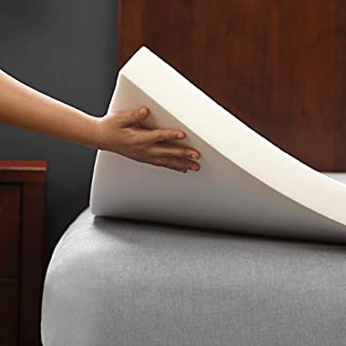 PharMeDoc Memory Foam Mattress Topper - 2 Inch Thick & Soft Bed Comfort Pad - 42 Density - Improved Sleep by Relieving Joint & Back Pain - Pressure Reducing - White (Queen)