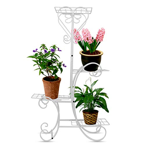 Wrought Stand Iron (Wrought Iron Flower Plant Stand 4 Tier Shelves Metal Flower Pots Rack for Indoor Outdoor Garden Decor (White))