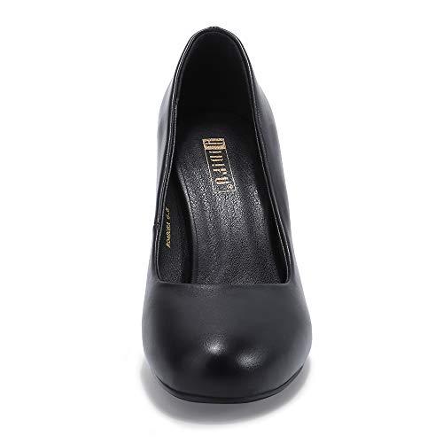 IDIFU Women's Dora Classic Round Closed Toe Slip On High Heels Pumps Party Wedding Dressy Shoes