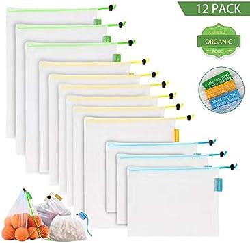 DLOPK Bolsa Reutilizable Poliéster de 12 Unidades(3S+6M+3L), Bolsas Reutilizables Compra, Verduras y Frutas 3 Tamaños Diferentes (Se Pueden Lavar a máquina)