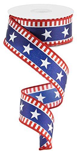 (Stars & Stripes Wired Edge Ribbon - 10 Yards (Satin, Red, White, Navy Blue))