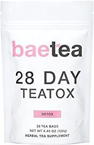 Baetea 28 Day Teatox: Gentle Detox Tea. Reduce Bloating and Constipation. Appetite Suppressant. 28 Pyramid Tea Bags. Natural Weight Loss Tea. Ultimate Body & Colon Cleanse.