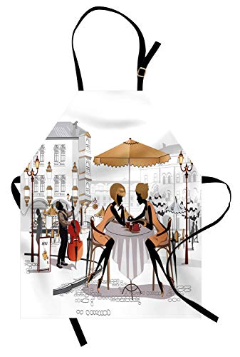 Lunarable France Apron, 2 Ladies in a Paris Cafe in Old Town with Street Musician Urban Theme, Unisex Kitchen Bib Apron with Adjustable Neck for Cooking Baking Gardening, Sand Brown White Peach