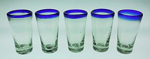 (Beer Flight, Beer Tasters Glasses, Blue Rim, Set of 5, 4 Oz.)