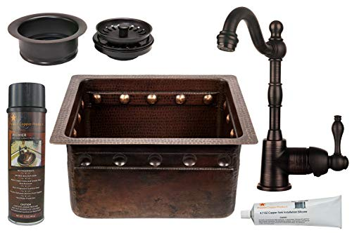 Premier Copper Products - BSP4_BREC16DBBS-G Bar/Prep Sink, Faucet and Accessories - Rectangle Copper Prep Sink