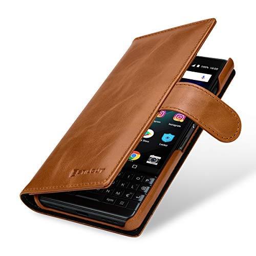 StilGut BlackBerry Key2 LE Wallet Case. Leather Flip Cover with Card Slots for BlackBerry Key 2 LE, Cognac Brown