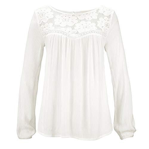 Rond Tunique Femme Covermason T Chemisier Col Pull Manches Blouse Tops Shirt Casual Longues Chic Blanc Dentelle Shirt Chemisier T Femme Patchwork Haut Blouse 7qwx1E76d