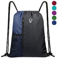 BeeGreenDrawstring Bag Sports Backpack for Women Gym Bag Mens Large Swim Bag with Zipper and Mesh Pockets PE Bag Pack Unisex