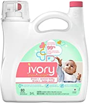 Ivory Snow Stage 2: Baby Hypoallergenic Laundry Detergent Liquid Soap, 3.4 L (80 Loads) Packaging May Vary