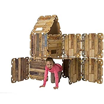 HearthSong Fantasy Fort Kit Creative Pretend Play Construction Building Set Kids Indoor Playhouse Heavy Duty Cardboard Carton Faux Wood Panels Velcro Connectors, Each Panel 22 x 22 Inches, 16 Pieces