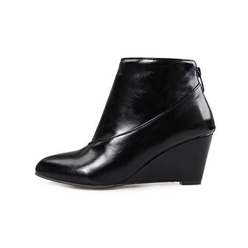 AmoonyFashion Womens Pointed Closed Toe Ankle High High Heels Solid PU Boots Black K2AsyBtqgI