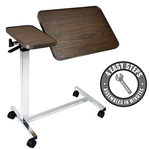 Vaunn Medical Adjustable Tilt Overbed Bedside Table with Wheels for Hospital and Home Use (Top Tables Tray)