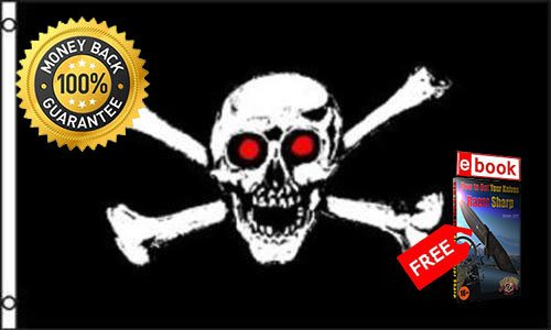 Red Eye Pirate Flag 3x5 feet Jolly Roger Skull &, Cross Bones Fish or Cut Bait PREMIUM Vivid Color and UV Fade eBOOK by MOON KNIVES ()