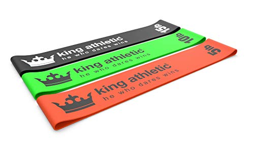 KING ATHLETIC Exercise Loop Band Set :: Heavy to Light Stretch Resistance Bands for Legs & Arms :: Best for Pilates, Crossfit, Fitness Training and Sports Therapy :: Green