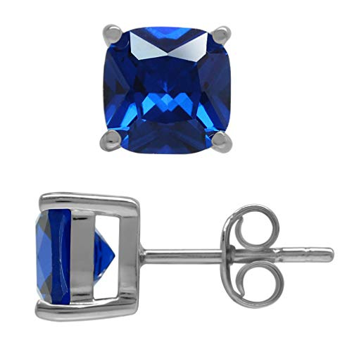 Synthetic Sapphire Earrings - Silvershake 7mm Cushion Shape Synthetic Sapphire Blue 925 Sterling Silver Stud Earrings