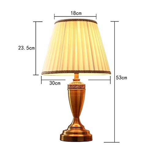 BTTB Household Bedside Table Lamp, Decoration Desk Lamp, Studentye Protection Table Lamp, Minimalist Warm Bedroom Bedside Table Lamp Living Room Study Office Copper Colored Metal Lighting Decorative