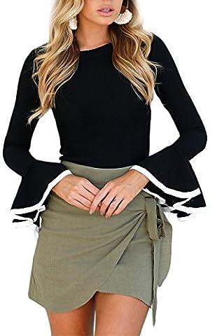 Women Sexy Slin Ruffles Sleeve Contrast Binding Slinky Blouse Tops Black L - Sexy Black Slinky