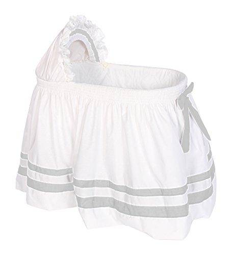 Baby Doll Bedding Modern Hotel Style II Bassinet Skirt, Grey by BabyDoll Bedding