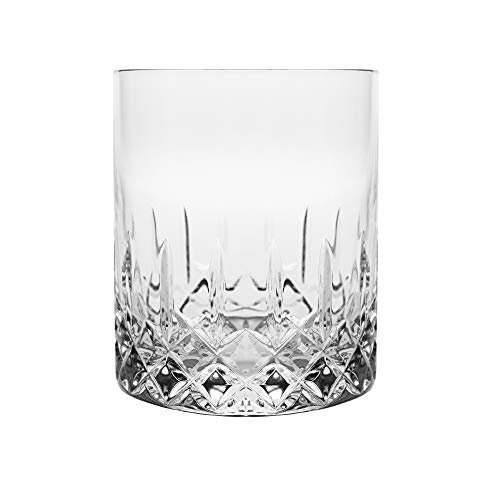 Barski - Set of 6 - Mouth Blown - Hand Cut - Crystal Glasses - DOF - Double Old Fashioned - Whiskey Tumblers - Each Glass is 16 oz. - Tumbler is Uniquely Designed - Made in Europe