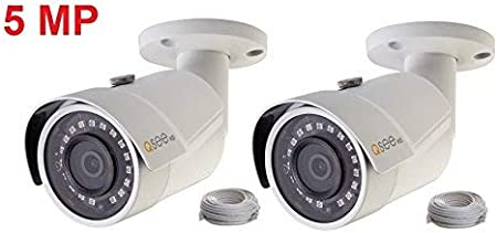 2 Pack Q-See 5MP IP HD Bullet Camera Color Night Vision H.265 100ft Cable