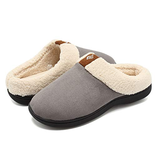 Microfiber Clog Suede (Fanture Women's Memory Foam Slippers Suede Wool-Like Plush Fleece Lined Slip-on Clog Scuff House Shoes Indoor & Outdoor-U418WMT024-gray-40.41)