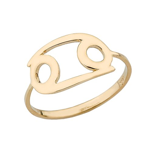 Yellow Gold 10k Cancer Zodiac Horoscope Ring (Size 8.25)