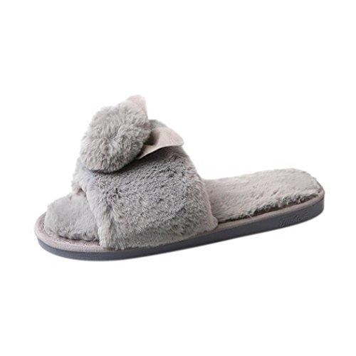 Women Flat Slipper, Inkach Stylish Girls Fluffy Faux Fur Flip Flop Sandal Sliders Shoes Gray