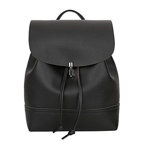 DEELIN Clearance Womens Vintage Pure Color Leather Satchel Women Travel Bookbags Preppy Shoulder Bag School Backpack for Girls Teenagers Black