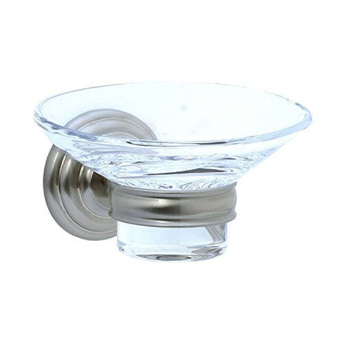 (Cifial 477.865.620 Wall-Mounted Holder with Crystal Soap Dish, Satin)