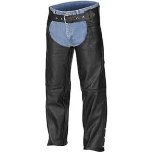 River Road Plain Chaps Men's Leather Harley Motorcycle Pants - Black / Large