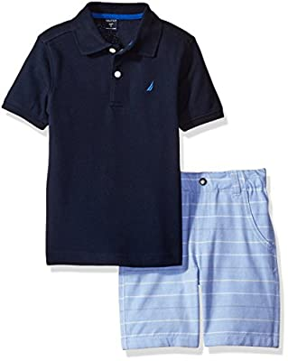 Nautica Boys' Polo with Pattern Pull on Short Two Piece Set