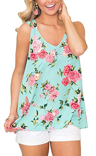Womens Summer Clothing 2019 Floral Camisoles Sleeveless Tank Tops Lake Green M