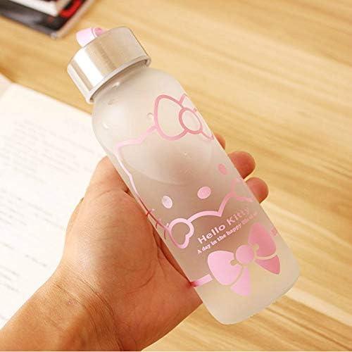 300ml Cartoon Hello Kitty Glass Sport Water Bottle Fruit Outdoor Bike Frosted Drink Bottles Hydro Clear Cups Pantry Mountain Nalgene Nestle Life Lids Plain Japanese Drinking Kit Water Bottles