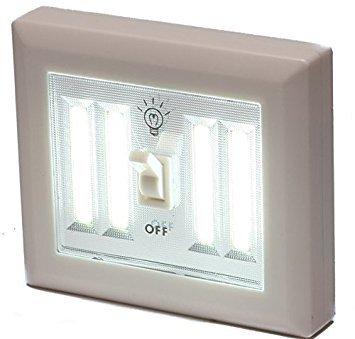 Battery Operated Cordless LED Jumbo Dual Light Switch 400 Lumens BATTERIES INCLUDED, Under Cabinet, Shelf, Closet, Nightlight & Kitchen RV & Boat (2 Pack (Jumbo Light)