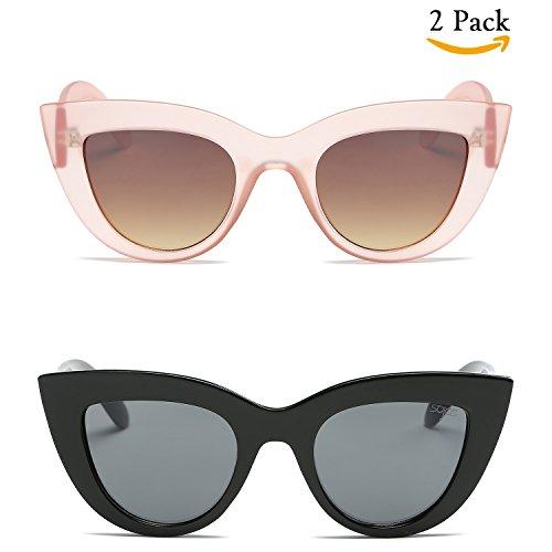 SojoS Retro Vintage Cateye Sunglasses for Women Plastic Frame Mirrored Lens SJ2939 (JTP2939C1+C2, Multicoloured)