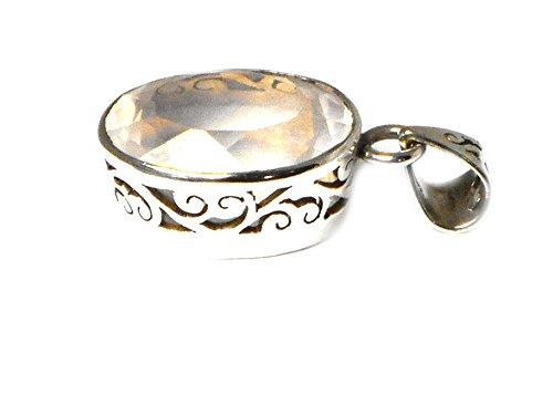 QUARTZ ROSE ovale en argent Sterling 925-Pendentif (RQPT1809152)
