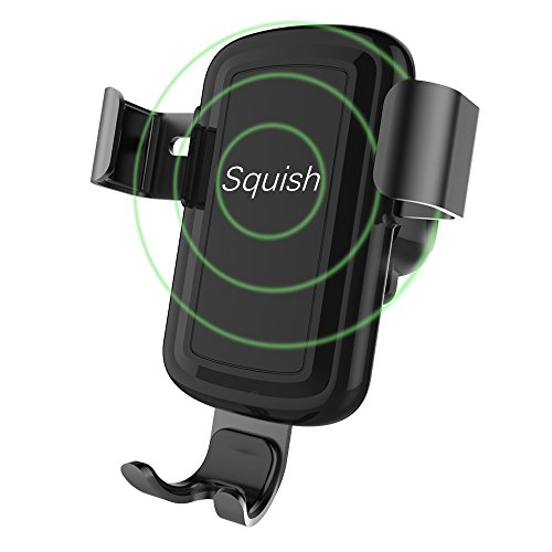 Squish Wireless Charger Car Mount Adjustable Gravity Air Vent Phone Holder for iPhone Samsung Nexus Moto OnePlus HTC Sony Nokia and Android Smartphones Qi - Covers Phone Wireless