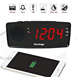 "Digital LED USB Alarm Clock Radio with FM Radio, Dual USB Chargers, Large 1.2"" Display, Snooze, Sleep Timer, Dimmer and Battery Backup for bedrooms"