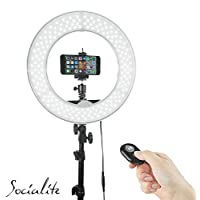 SOCIALITE 12 LED Dimmable Photo Video Ring Light Kit - Incl Professional Social Media Photography Studio Light, 6ft Stand, Remote, Heavy Duty Mount for DSLR Camera Fits Iphone 6s Android Smartphones