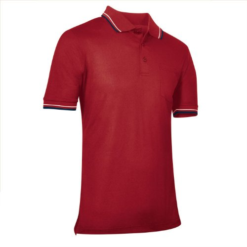 CHAMPRO Umpire Polo Shirt; Adult Red, 3X-Large