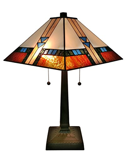 Stained Mission Glass State - Amora Lighting AM243TL14 Tiffany-Style Mission Table Lamp 23 Inches Tall